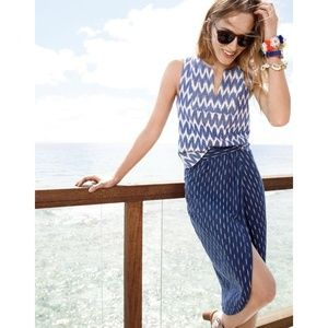 J. Crew Tops - J. Crew Blue Notched Shell in Zigzag Ikat